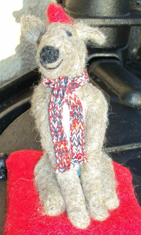 A Wee Toy Deerhound says Happy Christmas
